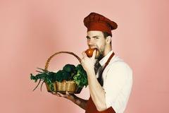 Kocken i den burgundy likformign äter tomaten sund begreppsmat Fotografering för Bildbyråer