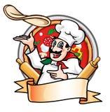 Kocken kastar pizza Arkivbild