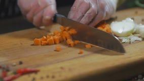 Kocken klipper moroten morot som en ingrediens för framställning av soppa eller andra maträtt Ultrarapid för bästa sikt stock video