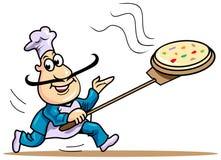 Kocken kommer snabbt med varm pizza royaltyfri illustrationer