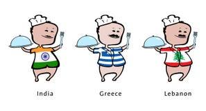kockgreece india lebanon restaurang royaltyfri illustrationer