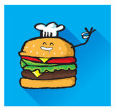 KockHamburger Character Showing tummar Vektor Illustrationer