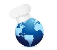 Kockhatt och jordklot. Internationellt kokkonstbegrepp Arkivbilder