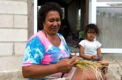 KockIslanders familj i den Aitutaki lagunkocken Islands Arkivbild
