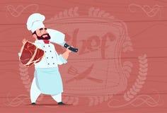 Kockkock Holding Cleaver Knife och kött som ler tecknad filmchefen i vita den texturerade restauranglikformign över trä stock illustrationer