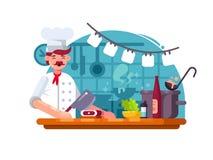 Kockkock i kök till förberett kött royaltyfri illustrationer