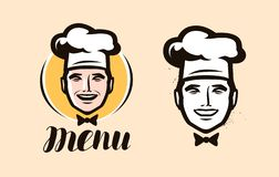 Kocklogo Kokkonst och att laga mat symbolen eller etiketten också vektor för coreldrawillustration stock illustrationer