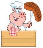 KockPig Cartoon Mascot tecken som rymmer en lagad mat biff på en Bbq-gaffel över ett trätecken som ger upp en tumme royaltyfri illustrationer
