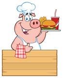 KockPig Cartoon Mascot tecken som rymmer en Tray Of Fast Food Over ett trätecken som ger upp en tumme stock illustrationer
