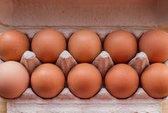Kocowań jajka w kartonie na stole Obraz Stock