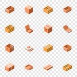 Kocowania pudełka ikony set, isometric 3d styl royalty ilustracja