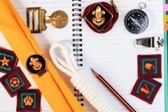 Kocowanie listy kontrolne dla skautowskich campingowych wycieczek, wycieczka wakacje, egzamin próbny Obrazy Royalty Free