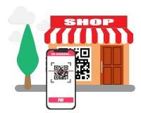Kod för bildläsning QR med mobiltelefonen i betalningen royaltyfri illustrationer