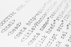 kod html wydrukowane internetu Obrazy Stock