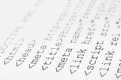 kod html wydrukowane internetu Fotografia Stock