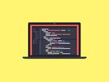 Kod på skärmbärbara datorn Arkivbild