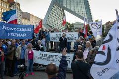 KOD protest in Poznan against new law violating the independce of courts in Poland Stock Photography