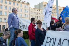 KOD protest in Poznan against new law violating the independce of courts in Poland Royalty Free Stock Photos