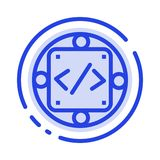Kod, zwyczaj, urzeczywistnienie, zarządzanie, produkt linii linii błękit Kropkująca ikona royalty ilustracja