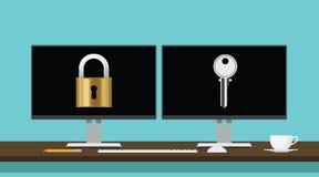 Koda decryptbegreppet med låset och stämma säker säkerhet för översättningen vektor illustrationer