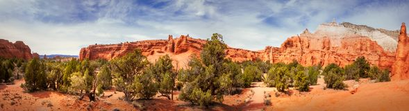 Kodachrome Basin State Park Panorama View. Panorama of Kodachrome Basin State Park, Utah, USA. Its main characteristics are the unique desert color of the Royalty Free Stock Image