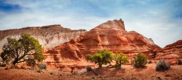Kodachrome Park colorful desert beauty in spring. Panorama of the unique desert beauty at Kodachrome Basin State Park, Utah, USA with massive sandstone rock Stock Photo