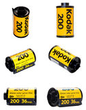 Kodak filmen 200 in den verschiedenen Ansichten Stockfotografie