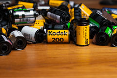 Kodak films. CHIANGMAI THAILAND, OCTOBER 4: Kodak films in the photographer house in Chiangmai, Thailand on 4 October 2014 Royalty Free Stock Photography