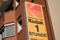 Kodak-signage bij de bouw van buitenkant stock foto's