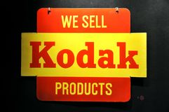 Kodak vintage ad. Vertising at the Alinari Museum of Photography in Florence, Italy. We sell Kodak products Stock Image