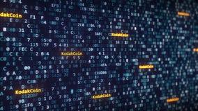 KodakCoin subtitula aparecer entre a mudança de símbolos hexadecimais em um tela de computador Rendição 3D editorial Imagens de Stock Royalty Free