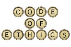 Kodeks etyczny w maszyna do pisania kluczach zdjęcie stock