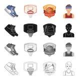 Kodes, παπούτσια, δέρμα, και άλλο εικονίδιο Ιστού στο ύφος κινούμενων σχεδίων Αθλητικός τύπος, ομοιόμορφος, παιχνίδι, εικονίδια σ ελεύθερη απεικόνιση δικαιώματος