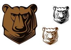 Kodiak bear mascot. Brown kodiak bear head for sports team mascot or tattoo design Royalty Free Stock Images