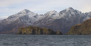 Kodiak coastline. Coastline off Kodiak Island in the middle of winter Royalty Free Stock Photo