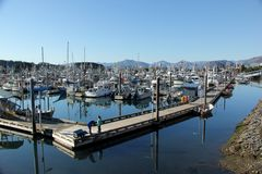 Kodiak Harbor. Fishing boats docked at the small boat harbor of Kodiak Island, Alaska, USA Royalty Free Stock Photos