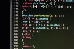 Kodierung des Programmierungsquellcodeschirmes Bunte abstrakte Datenanzeige Softwareentwicklernetz-Programmskript Stockfotografie