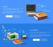 Kodifiera och elektronikkurser informativ sida vektor illustrationer