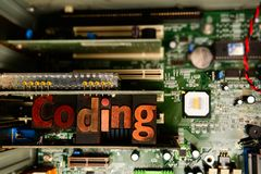 Kodifiera och rengöringsdukframkallning Lära att kodifiera och framkalla programvara arkivbild