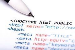 kodu html Obrazy Stock