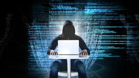 Kodu i technologii interfejs z hackerem na laptopie zbiory