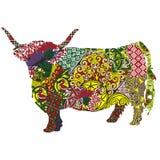 Koe in de Schotse patronen Stock Afbeelding