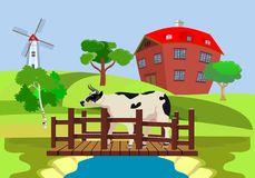 Koe die onbridge over de rivier, de vectorillustratie van het plattelandslandschap lopen royalty-vrije illustratie