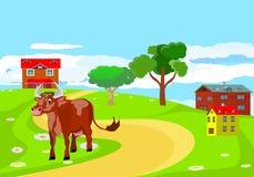 Koe die op de weg, plattelandslandschap lopen royalty-vrije illustratie