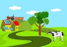 Koe die zich bij de weg, de vectorillustratie van het plattelandslandschap bevinden royalty-vrije illustratie