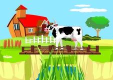 Koe die zich op de brug over de rivier, plattelandslandschap bevinden stock illustratie