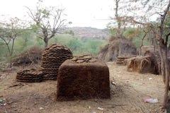 Koe Dung Fuel Storage royalty-vrije stock afbeelding