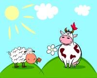Koe en schapen Royalty-vrije Stock Afbeeldingen