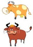 Koe en stier Stock Illustratie