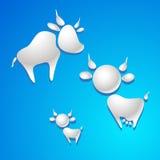 Koe en stierensymbool - melkdalingen Stock Afbeeldingen